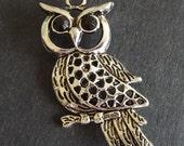 Antique Silver Pewter Owl Pendant, 55x25mm - 2 Pendants