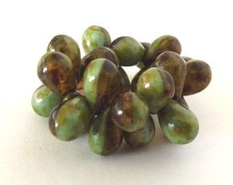 Czech Glass Beads - Green and Amber Picasso Teardrop beads, 6x9mm - 25 beads