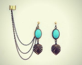 ear cuff turquoise shell earrings, ear cuff with chains, shell earrings, shell ear cuff, unique earrings