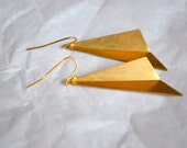 CLEARANCE - Geometric Gold Triangle Earrings. Hooked. Everyday. Gift. For Sale.