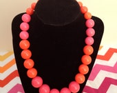 Neon Pink and Orange Chunky Necklace
