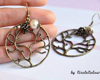 Tree Earrings - Tree of Life with Pine Cone Nuts & Pearls Dangle Earrings - Antique Bronze Earrings Hook