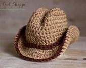 Newborn Cowboy Hat Crochet, Photography Prop, Newborn Hat, Fedora, Boy or Girl Prop - Made To Order