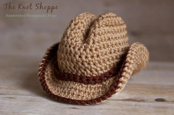 Items similar to Newborn Cowboy Hat Crochet, Photography ...