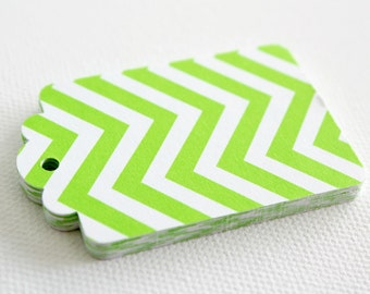20 GREEN CHEVRON Hang Tag, Gift Tag, Price Tag Die cuts punches cardstock 2.25X1.5 inch -Scrapbook, cards