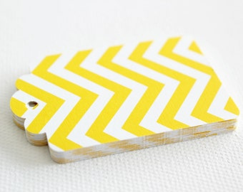 20 YELLOW CHEVRON Hang Tag, Gift Tag, Price Tag Die cuts punches cardstock 2.5X1.5 inch -Scrapbook, cards