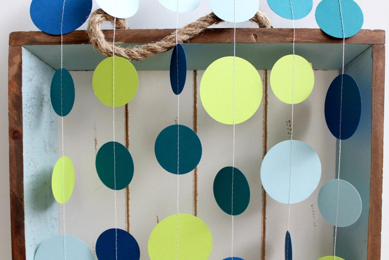 Teal Navy Blue Light Blue Lime Green 12 Ft Circle Paper