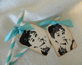 Barber Pole Straws and Tags, Vintage Audrey Hepburn, Tiffany Blue Set of 12 - Sophiasplace