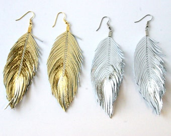 MEDIUM SIZE Metallic Lambskin - gold, silver, rose gold, Leather Feather, Feather Earrings, Silver Feather, Gold Feather