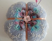 Sweet Cottage Pincushion -Tatting and Embroidery Topped - Handsewn