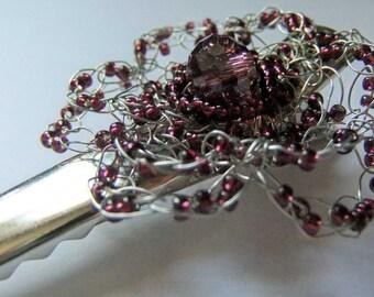 Purple Wire Crochet Flower Hairclip