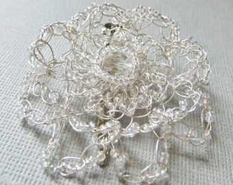 Crystal Wire Crochet Flower Hair Clip