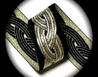 """Gold Twist Woven Jacquard Ribbon - 2"""" x 3 yards Black and Gold - Superb Quality -Celtic Knot"""
