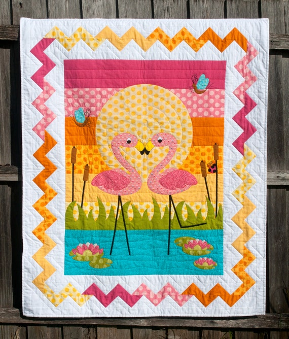 Flamingo Fandango Applique Quilt PDF Pattern