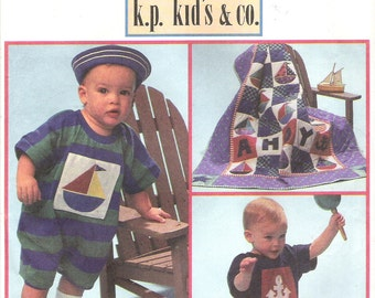 1990's Simplicity Sewing Pattern 8519 - Craft Babies Romper Hat and Quilt - complete but used