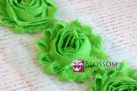 1/2 or 1 Yard Increment - APPLE GREEN - Chiffon Shabby Rose Trim - Headband flowers - Scrapbooking - Bright Green - DIY Headbands