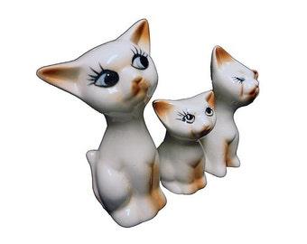 CLEARANCE Vintage Salt n Pepper Shakers - Kitty Cat Shaker Set Plus Toothpick Holder, Mid Century Siamese Cats, Ceramic S & P Shaker Set