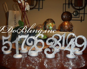 Custom Font - Bling Crystal Rhinestone Wedding Reception Birthday Party Table Numbers
