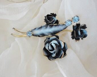 Antique, Black, Blue,  Gold, Flower, Pin, Brooch