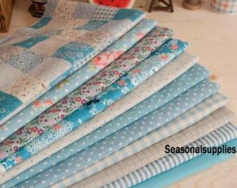"""Blue Bundle Blue Linen Cotton Fabric Bundle- Blue Fabric Fat Quarter Bundle, 10 Fat Quarters Pieces each 13""""X9"""" (QT117-S)"""