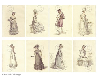 Digital Printable Shabby Chic Pretty Regency Women Pride & Prejudice ATC backgrounds Collage Sheet