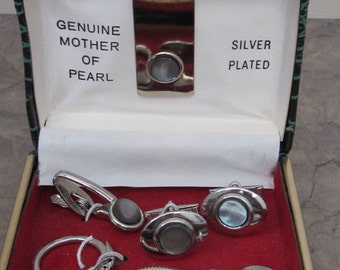 Genuine Mother of Pearl Silver Plated Cuff Link Set Money Holder Tie Bar Key Chain and Cuff LInks