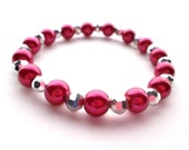 Hot Pink Pearl and Silver Metallic Stretch Bracelet
