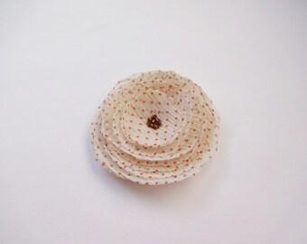 Polka Dot Beige Flower Embellishment