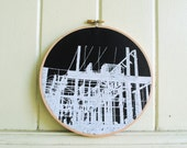 Abstract Art Print - Silkscreen White on Black - Transformer Station - Stretched in Hoop