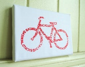 Bicycle Calligram- Screen Print Red on White - Stretched on Canvas - Word Art