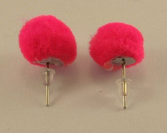 SALE Fashion handmade earrings with ponpon pompom red orange fuxia pink