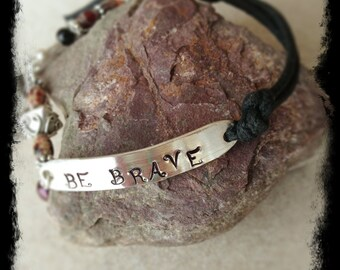 "Hand Stamped Sterling Tag ""BE BRAVE"" Bracelet with Gemstones, Pearls, Sterling Silver and a Black Cotton Cord"