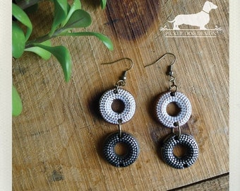 LAST ONE! Black and White. Dangle Earrings -- (Vintage-Style, Polka Dots, Rustic, Gunmetal Gray, Modern, Funky, Cute, Gift for Her Under 10)