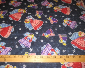 Angels & Snowflakes Fat Quarters Navy Blue 100 percent Cotton Fabric.