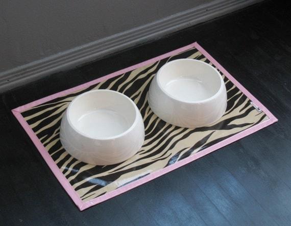 Last One - Waterproof Pink Zebra Pet Placemat Splat Mat