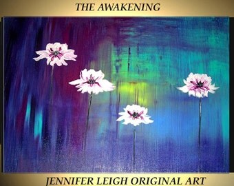 Original Large Abstract Painting Modern Acrylic Painting Canvas Art Purple Blue The Awakening Flowers 36x24 Oil Painting Textured  J.LEIGH