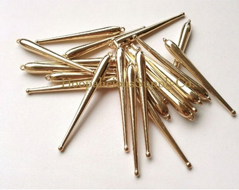 25 Large GOLD Spikes with Bottom Bulb- Acrylic- 60mm in Length