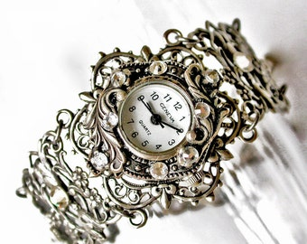 Bracelet Watch Womens Silver Watches Ladies Victorian Watches Vintage Style Women's Unique Watches Victorian Jewelry