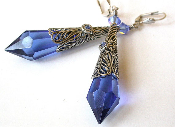 Sapphire Teardrop Earrings - Victorian  Gothic  - Sterling Silver Plated Brass and Swarovski Crystals