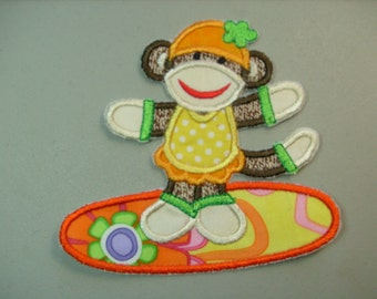Summer fun sock monkey embroidered iron on applique or patch