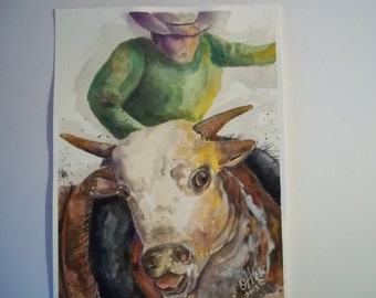 Same Ole Bull...Original Watercolor 9 x 12