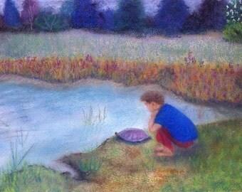"Pastel Painting- Original Artwork-Boy with Turtle- ""Making Friends"""