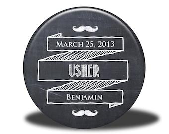 PERSONALIZED Usher Gift - Mirror, Magnet, Bottle Opener or Pin - Chalkboard