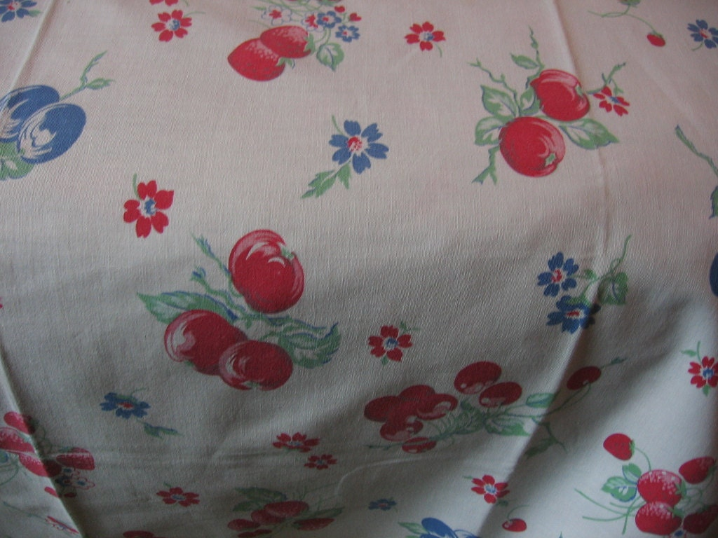 Vintage Cherries Tablecloth Kitchen Fruits And Flowers Print