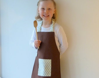 Kids Apron, Child Art Smock, Brown and Sage Sister Parish Cotton, Fits 3-7