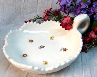 Vintage White Ceramic Dish Finger Handle