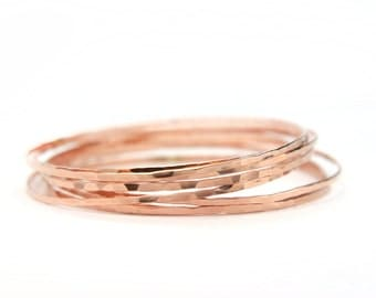 Rose gold simple hammered stacking bangles, 14k gold filled bracelets set of 5, Last minute gift idea for her