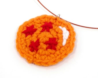 Dragonball Pendant Necklace. Crochet. Four Star Ball. Anime Manga. Goku Vegeta. Latex Coated Stainless Steel.