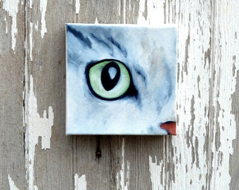 Original oil on canvas, cat painting, wall art, home decor - Eye See You series eight
