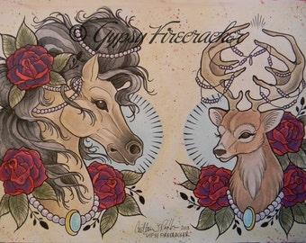Fancy Animals Tattoo Flash Art Print